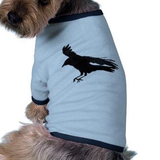Flying Landing Black Crow Art Ringer Dog Shirt