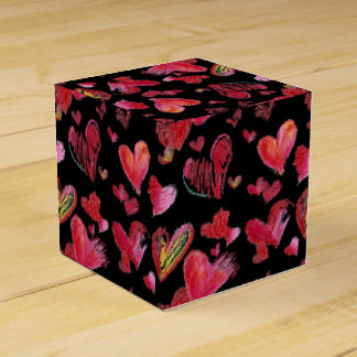 Flying Love Hearts on Black Paper Box Wedding Favor Box
