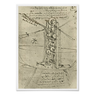 Flying Machine, Leonardo da Vinci, 1488 Poster