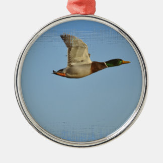 Flying Mallard Duck Art for Wildlife lovers Silver-Colored Round Decoration