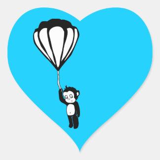 flying monkey : hot air balloon heart sticker