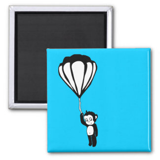 flying monkey : hot air balloon square magnet