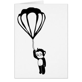 flying monkey : hot air balloon note card
