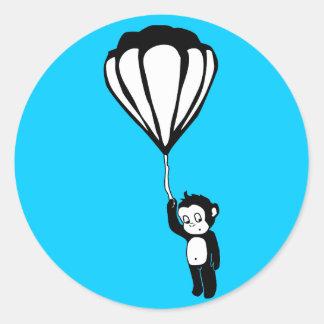 flying monkey : hot air balloon round sticker