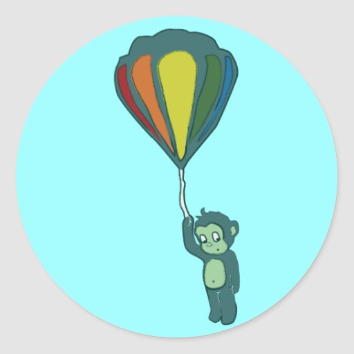 flying monkey : hot air balloon round stickers