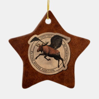 Flying Moose Aviation Patch Christmas Ornament