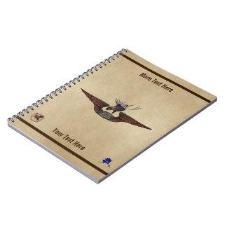 Flying Moose Bush Pilot Wings Spiral Notebook