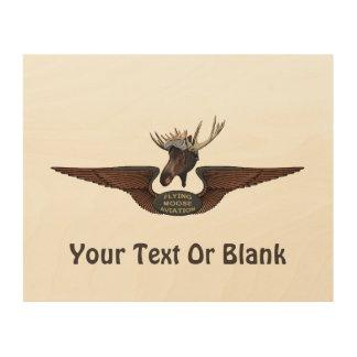 Flying Moose Bush Pilot Wings Wood Wall Art