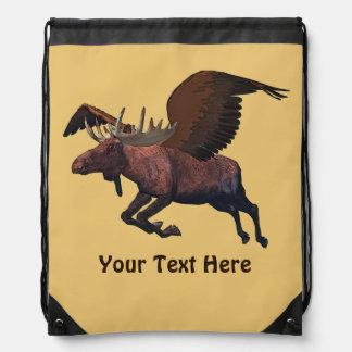 Flying Moose Drawstring Backpacks