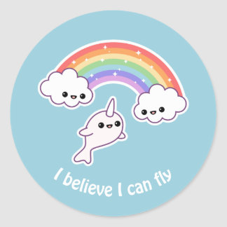 Flying Narwhal Classic Round Sticker