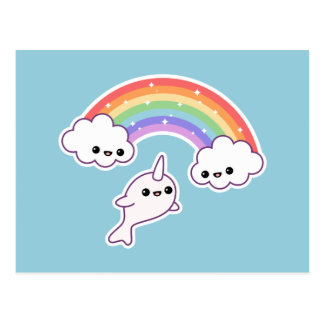 Flying Narwhal with Rainbow Postcard