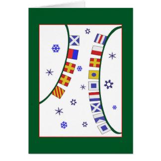 Flying Nautical Signal Flags Merry Christmas Card