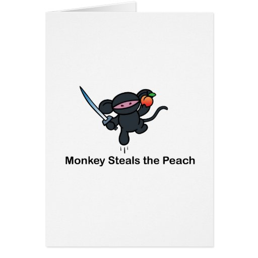 Flying Ninja Monkeys Steals the Peach Greeting Cards