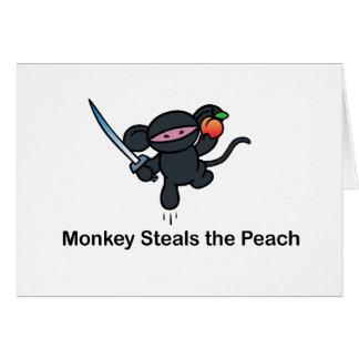 Flying Ninja Monkeys Steals the Peach Greeting Card
