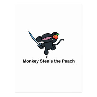 Flying Ninja Monkeys Steals the Peach Postcard