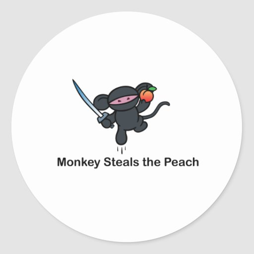 Flying Ninja Monkeys Steals the Peach Round Sticker