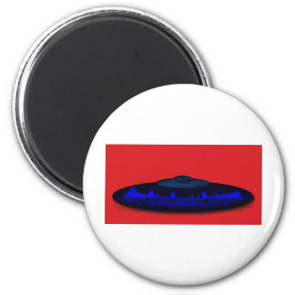 Flying Objects R. & D. in Chrome BLUE and Magenta 6 Cm Round Magnet