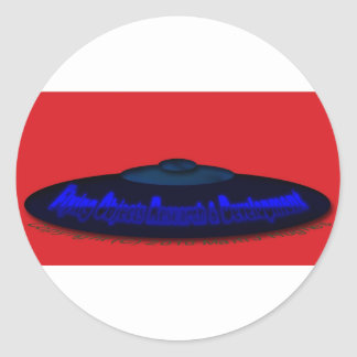 Flying Objects R. & D. in Chrome BLUE and Magenta Round Sticker