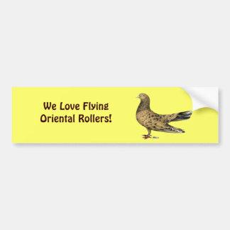 Flying Oriental Roller:  Almond Bumper Sticker