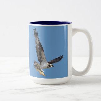 Flying Osprey Hunting for Fish Mug