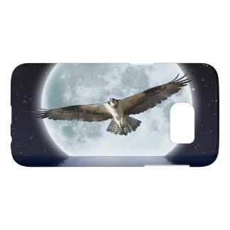 Flying Osprey Hunting under a Full Moon