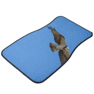 Flying osprey with a target in sight car mat