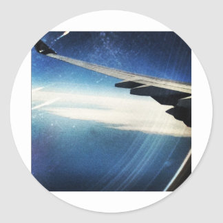 flying over america classic round sticker