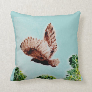 Flying Owl art Throw Pillow