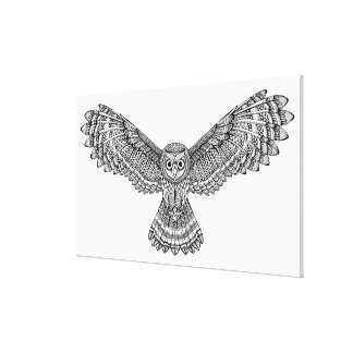 Flying Owl Zendoodle 6 Canvas Print