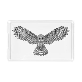 Flying Owl Zendoodle Acrylic Tray