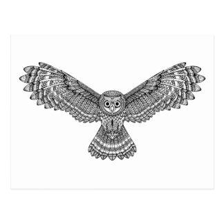Flying Owl Zendoodle Postcard
