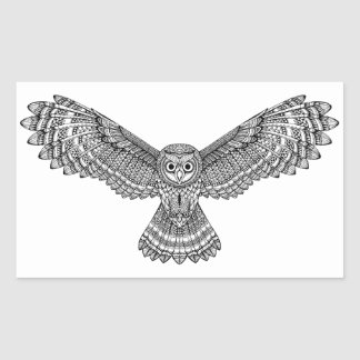 Flying Owl Zendoodle Rectangular Sticker