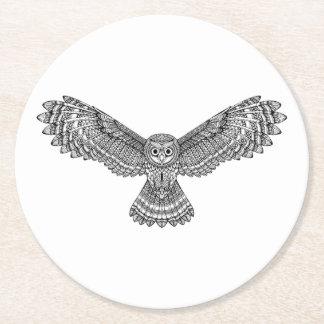 Flying Owl Zendoodle Round Paper Coaster