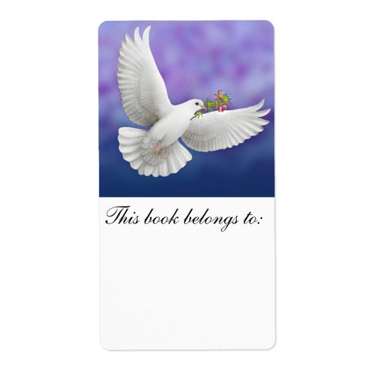 Flying Peace Dove Bookplate