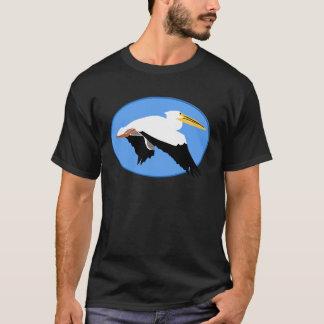 Flying Pelican in Blue Oval T-Shirt