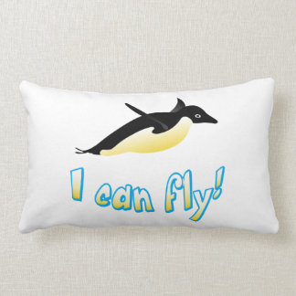 Flying penguin lumbar pillow