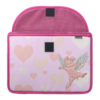 Flying Pig and Pink Hearts Sleeve For MacBook Pro