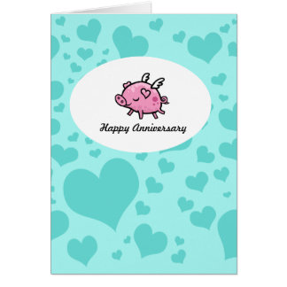Flying Pig Anniversary card