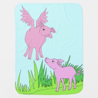flying pig baby blanket