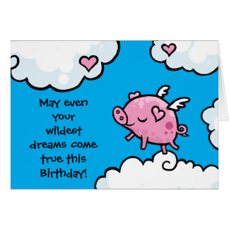 Flying pig birthday dreams card template