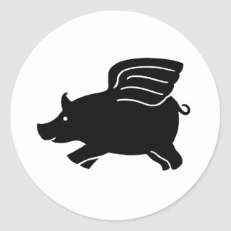 Flying Pig - Black Classic Round Sticker
