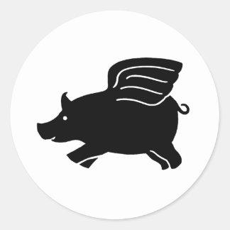 Flying Pig - Black Round Sticker
