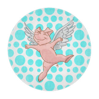 Flying Pig Blue Dots Cutting Board