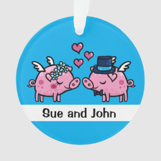 Flying pig bride and groom customisable