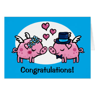 Flying Pig Bride and Groom customisable Greeting Card