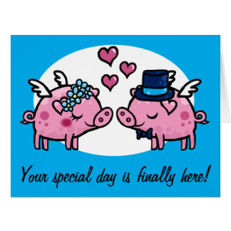 Flying Pig Bride and Groom customisable Greeting C Big Greeting Card
