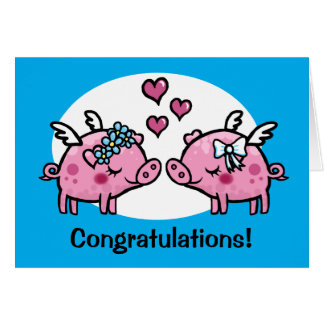 Flying Pig Brides gay marriage customisable Greeting Card