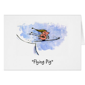 """Flying Pig"" Note Card"