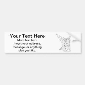 Flying Pig Cartoon Bumper Sticker