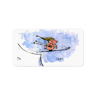 Flying Pig - Cool Ski Jumping Pig Athlete Address Label